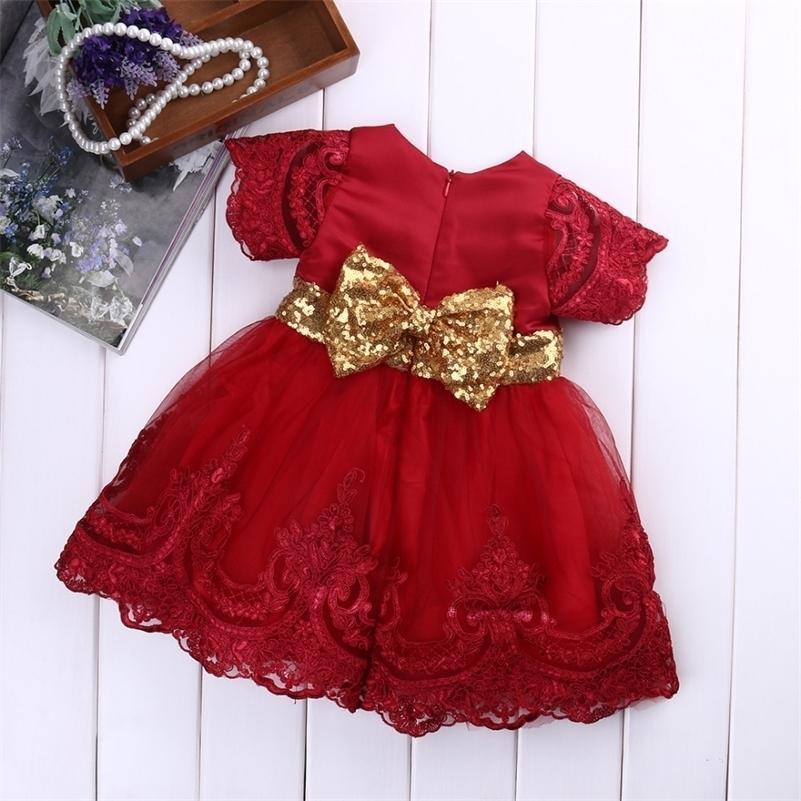 Bebê menina roupas vestido vestido de manga curta laço arco vestido de esfera tutu vestido criança criança crianças fantasia vestido 0-7Y 210319