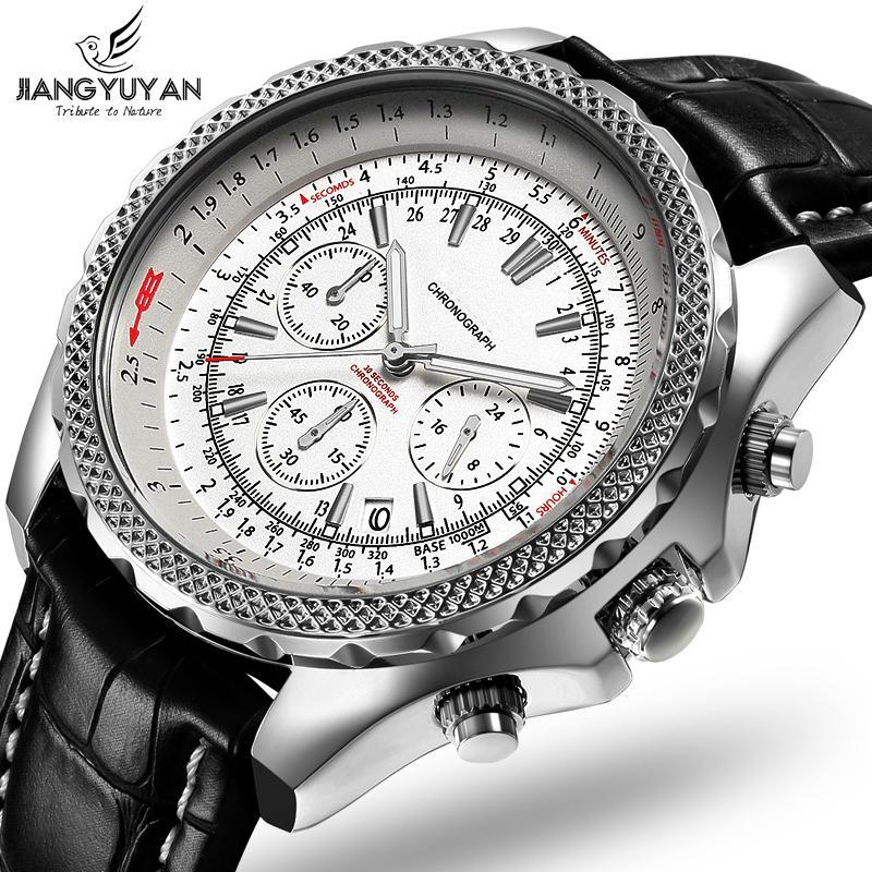 Montres-bracelets Top Brand 2021 Série Earth Series Multifunction Hommes Montre Chronographe 6 Mains 24 heures Mode Casual Cuir véritable
