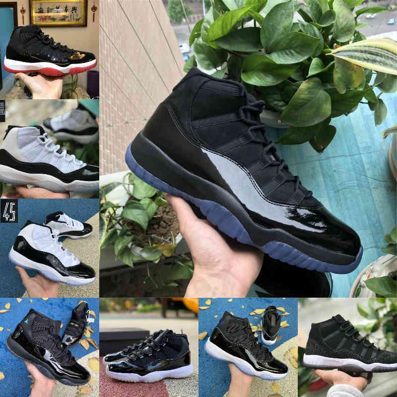 بيع 2021 جديد bred 11s 11 الرجال النساء أحذية كرة السلة كونكورد 45 البلاتين تينت الكرز كاب و ثوب الفضاء مربى مصمم أحذية الرياضة المدربين D1