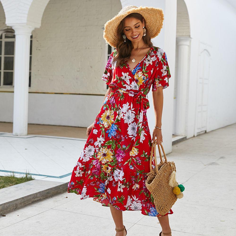 여성 깊은 V 목 맥시 드레스 비치 캐주얼 플로랄 인쇄 sundress 여름 벨트 의류 벨트 옷을 입은 벨트 옷을 가진 롱 드레스