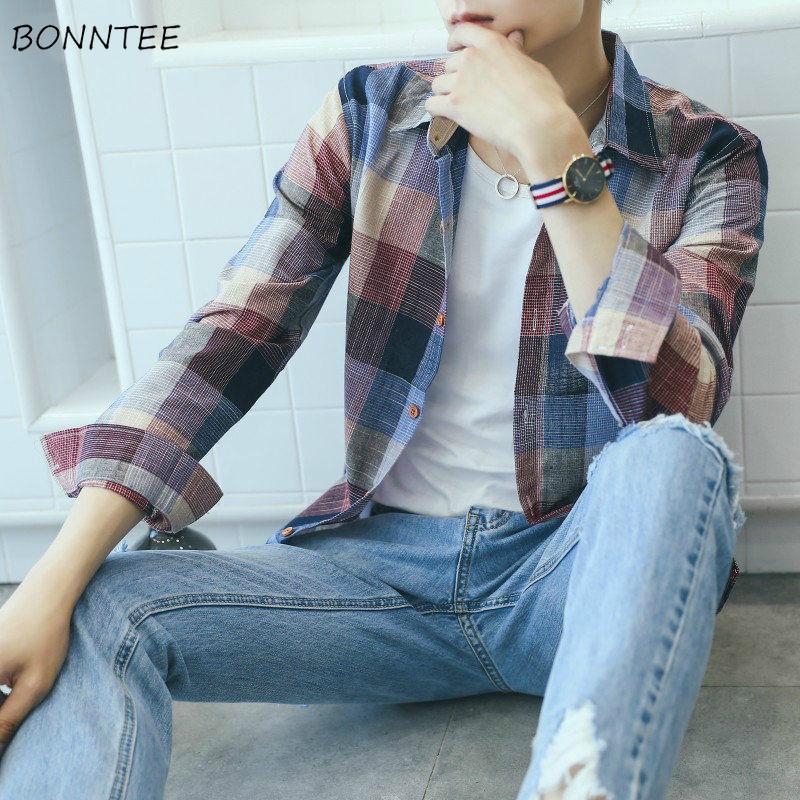 남성 셔츠 남성 탑스 체크 무늬 십대 슬림 레귤러 플러스 사이즈 3XL 긴 소매 캐주얼 턴 다운 칼라 한국어 세련된 소프트 옷 패션 남자