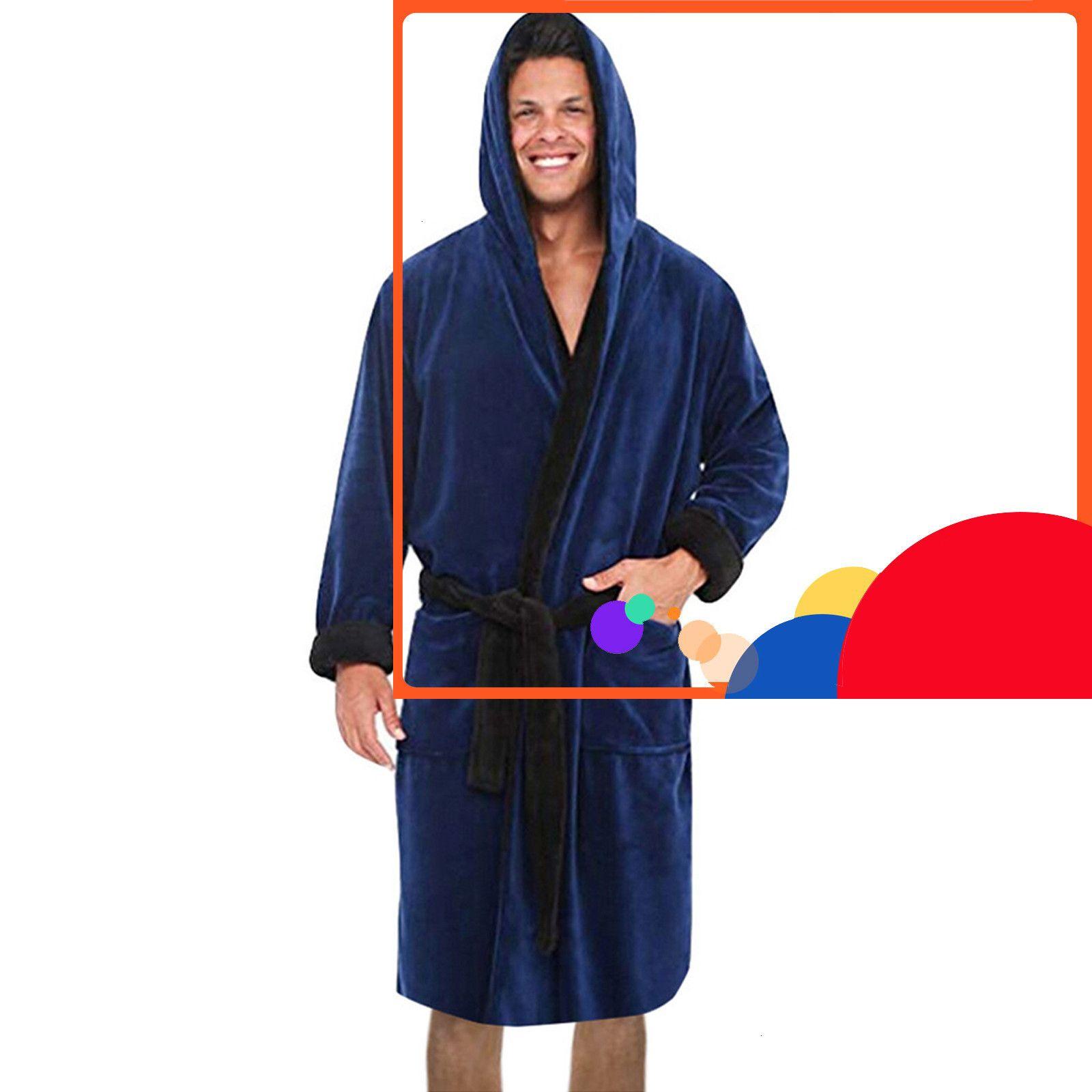 # B04 hombres invierno extendido pluche chal ropa de hogar largo mouwen bata abrigo badjas peignoir homme gewaad