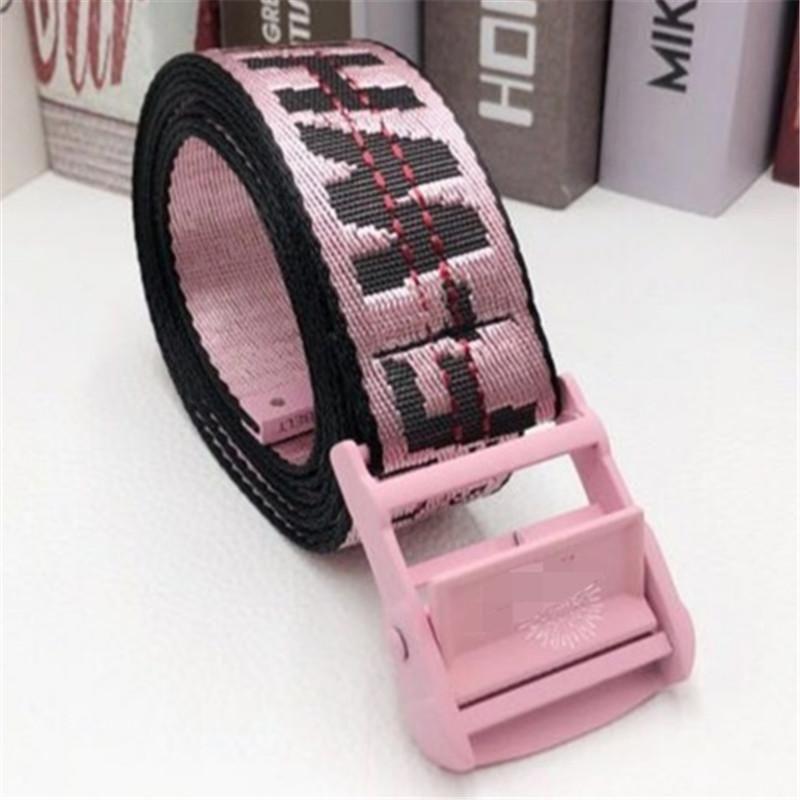 Cintos 2021 Moda Mulheres Carta Cinto De Lona Off Waistband Limpar Cintura Branca Fivela De Metal Para Acessórios Jeans Femininos