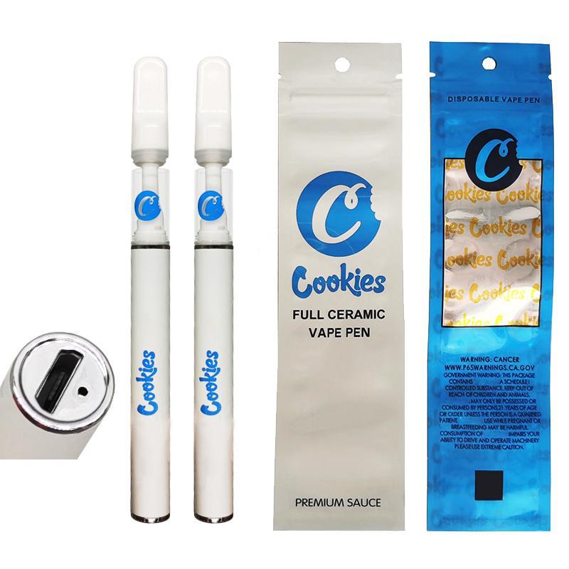 Cookies Full Ceramic Vape Pen 0.5 мл 1,0 мл 290 мАч Аккумуляторные э-сигареты Картриджи свинцовые Бесплатное оснастку на резервуар для испарения плоского наконечника в наличии