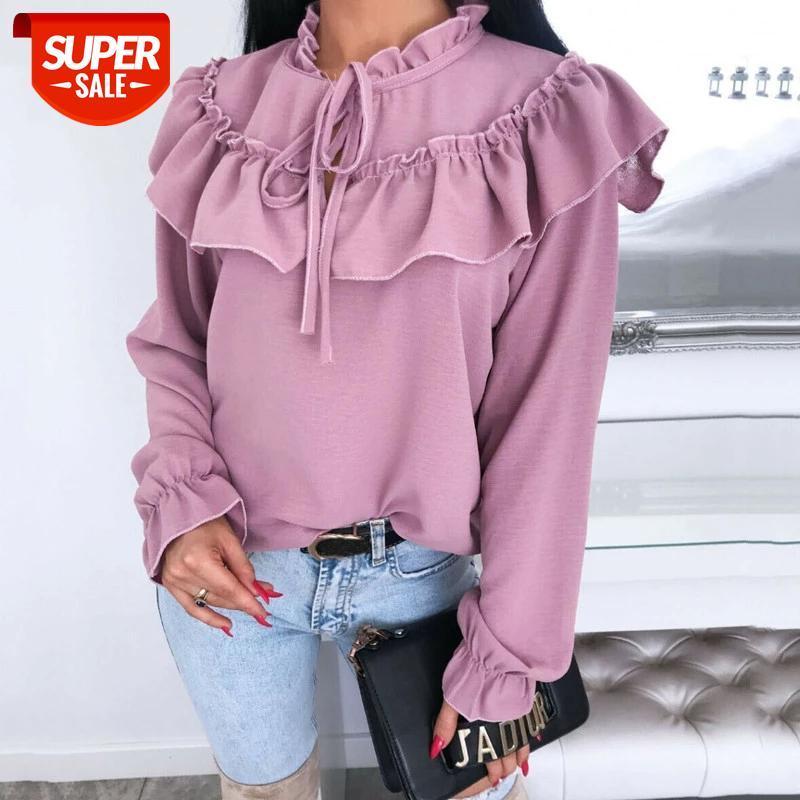 Hirigin Primavera Outono Mulheres Camisa de Manga Longa Camisas Curva Bebles Irregular Ladies Streetwear Slim Chiffon Blouse Elegante tops # NK7X