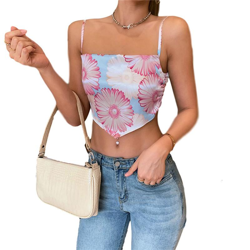 Mulheres Sexy Lace Up Halter Summer Tank Tops Floral Imprimir Sem Mangas Backless Bandage Party Club Crop Top Colete Feminino NY