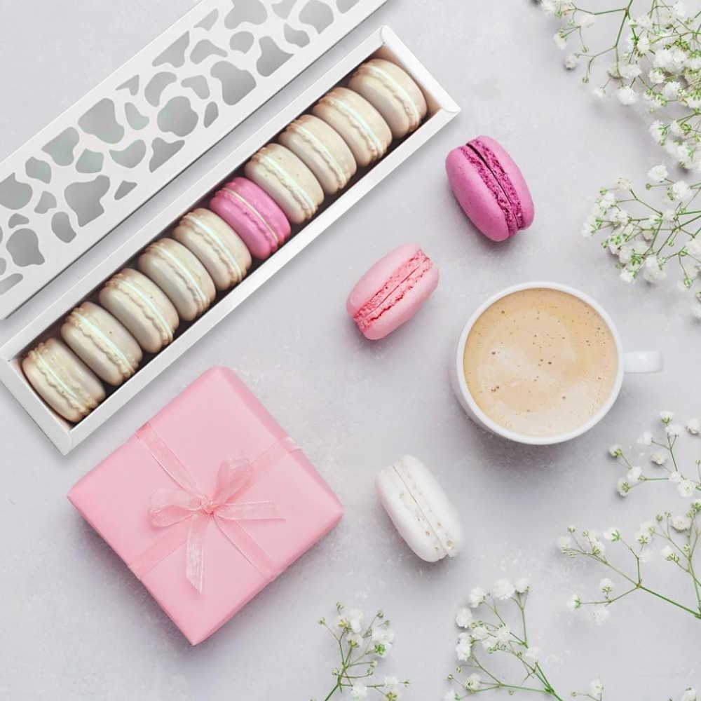10 adet Macaron Kutuları Kağıt Kurabiye Bisküvi Kılıfı Ambalaj Kutusu Tatlı Mağazası Y0712 Için