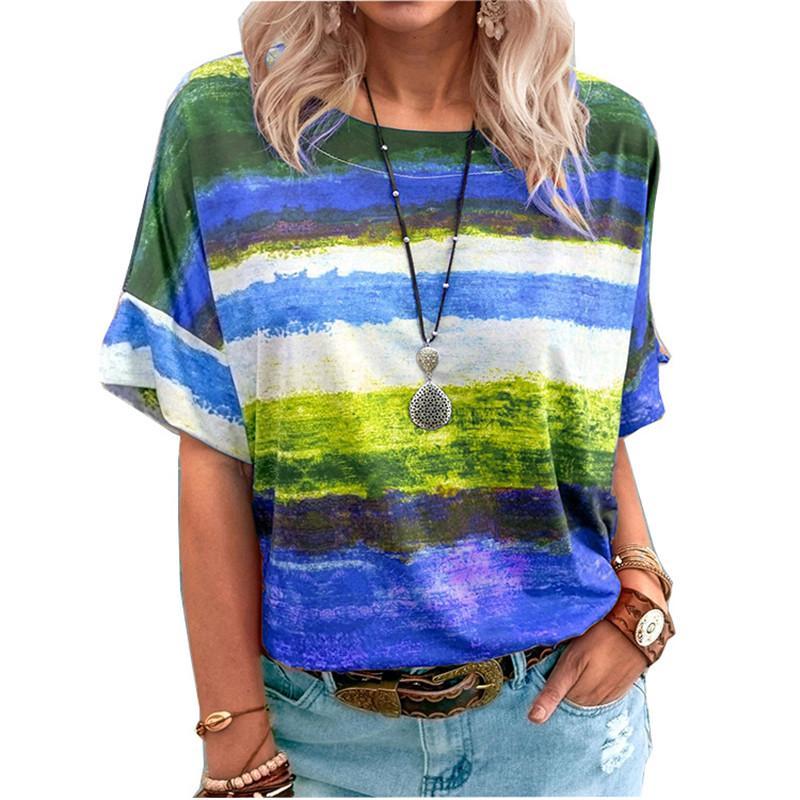 Tie Dye Gradient Women Print T Shirt Summer O-Neck Loose Tops Casual Streetewear Ladies Oversized Tee Top Plus Size 5XL