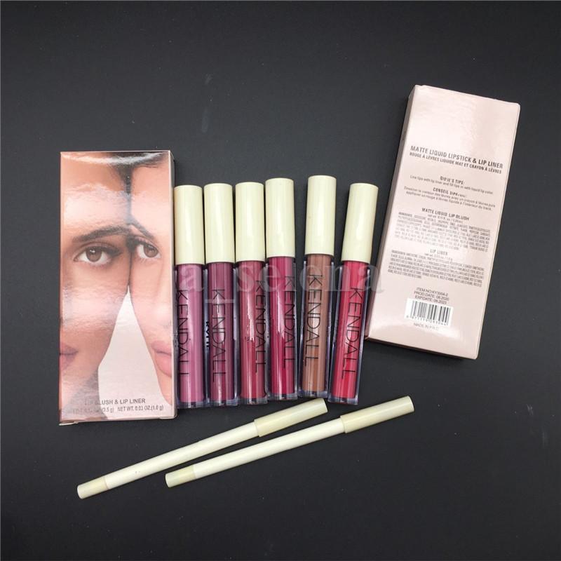 Mat Sıvı Ruj Dudak Parlatıcısı Lapliner 2 adet Set Dudaklar Liner Lipgloss Makyaj Seti 6 Renk