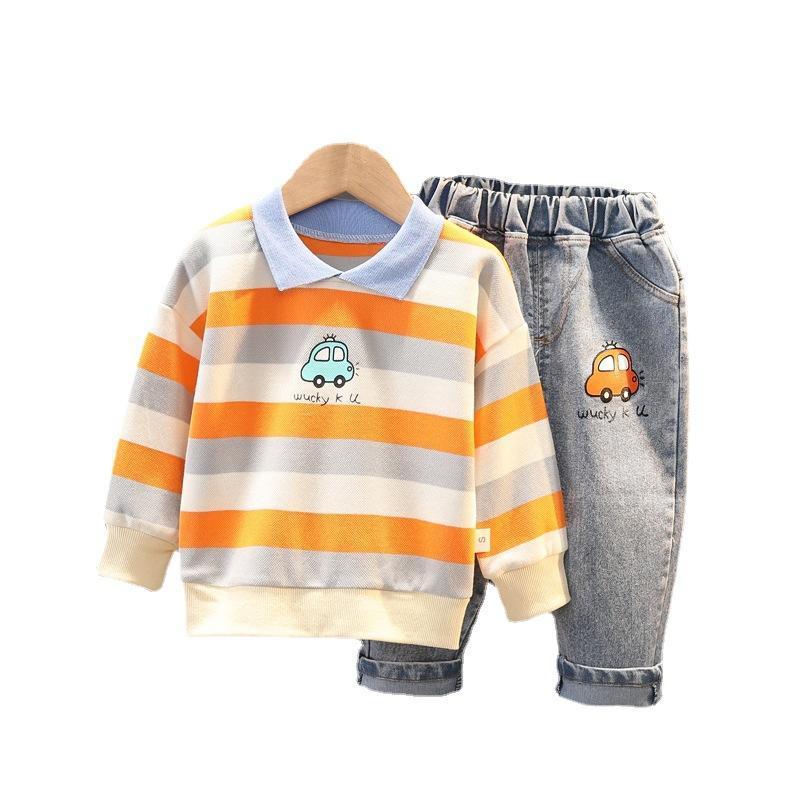 ربيع الخريف ملابس الطفل الأطفال الفتيان القطن تي شيرت جينز 2 قطعة / المجموعة طفل عارضة زي الرضع ملابس الاطفال رياضية مجموعات