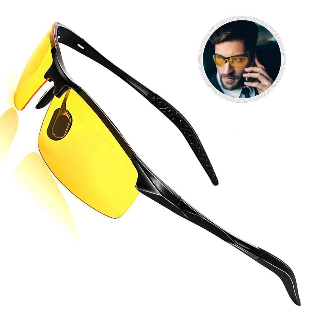 Óculos de sol misturados de magnésio de alumínio TAC Polarizado homens dia e visão noturna dirigindo óculos de sol, anti-reflexo Driver S175