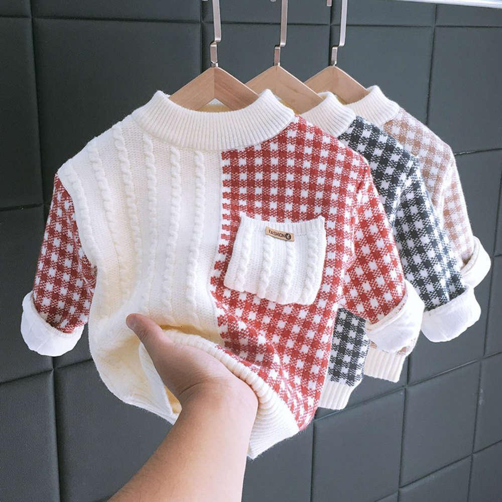 Vêtements de jardin Enfants Sous-piste d'automne Pull d'hiver pour enfants Peluche Coréen Plaid Boys et t-shirt de filles Double couche épaississement