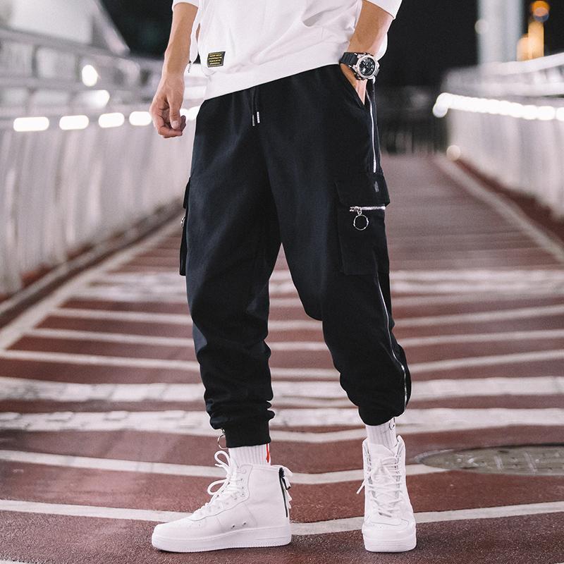 Taille élastique Homme Surfante Joggers Mode Hommes Zipper Casual Pantalon Casual Lâche Cargo Streetwear Hip Hop Harem Pantalons Homme