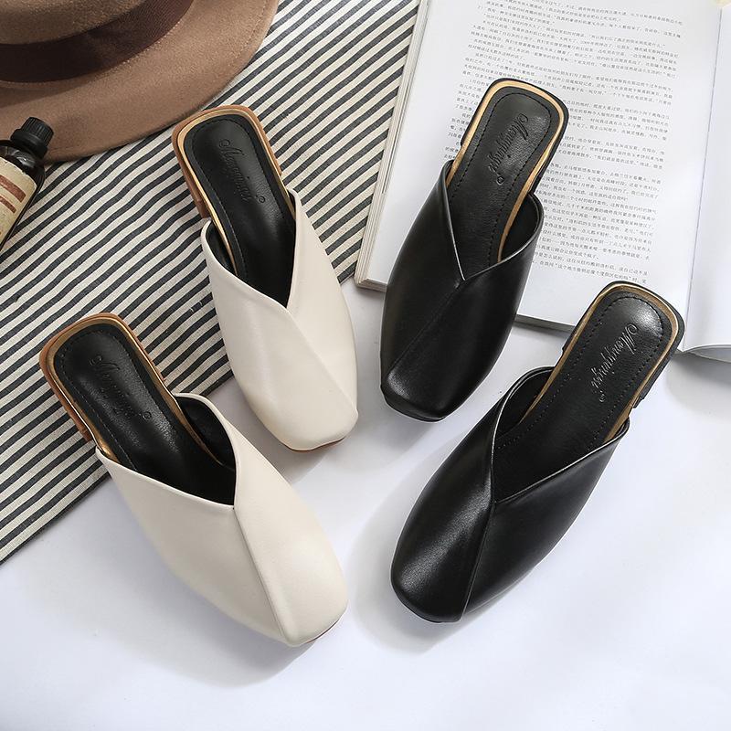 Schuhe quadratische zehe hausschuhe casual slips frauen weibliche maultier med gleitet luxus abdeckung 2021 weicher block mules nähen tpr stoff