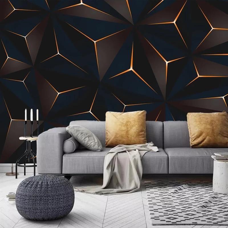 مخصص 3d ذاتية لاصقة خلفيات جدارية الحديثة خطوط ذهبية مجردة هندسية غرفة المعيشة التلفزيون خلفية جدار قماش اللوحة خلفيات