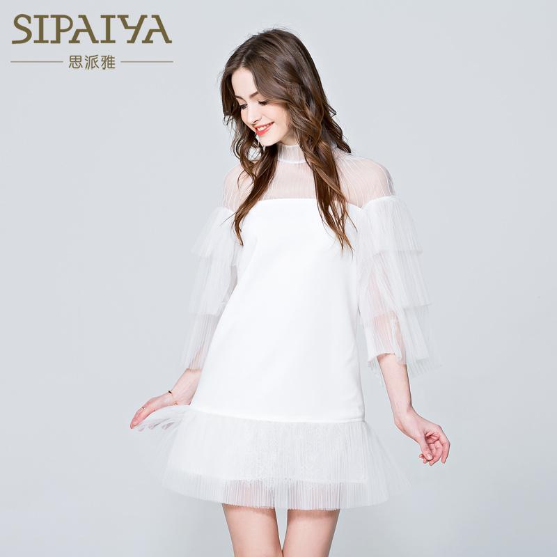 Sipaiya'nın Koreli kadın elbisesi 2021 sonbaharda ekleme yüksek bel prenses etek ince seksi dantel rahat elbiseler