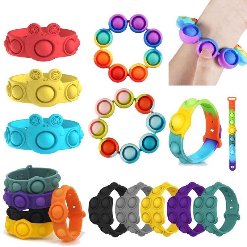 6 стилей push bubble fidget игрушки сенсорные кольца браслеты головоломки пресс пальца пузыри стрессовые браслет браслет bj29
