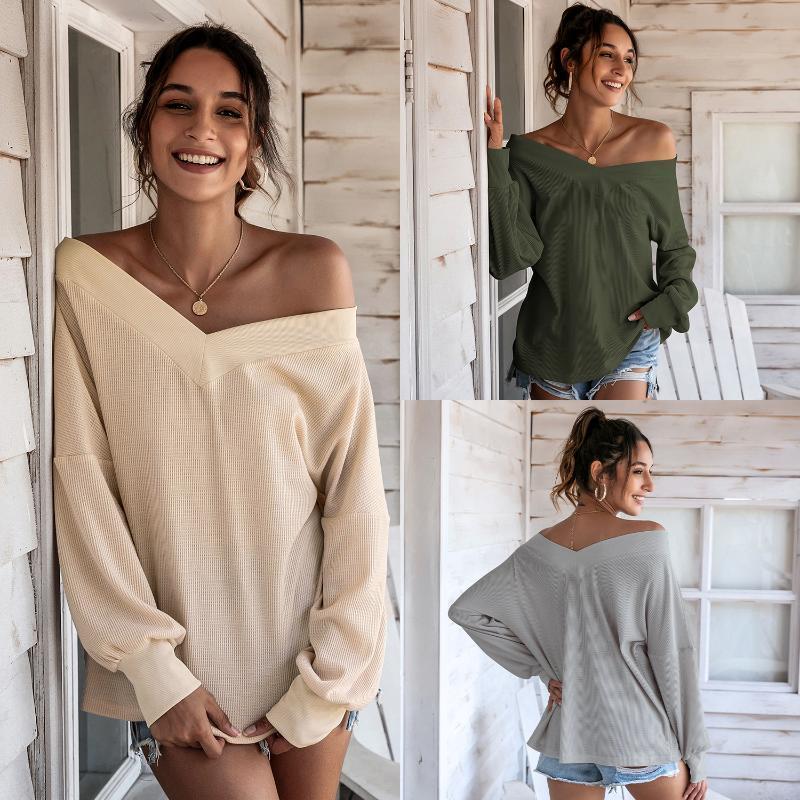المرأة تي شيرت زائد حجم طويل الأكمام محبوك قميص المرأة الربيع الصيف الخريف بلون الخامس الرقبة فضفاض البلوز الإناث الأزياء عارضة قمم