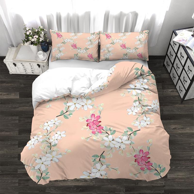 Conjuntos de ropa de cama 3 unids Duvet Funda Conjunto Peach Blossom Art Diseño Durable Edredón 3D Imprimir Imprimir Edredón de estilo tropical