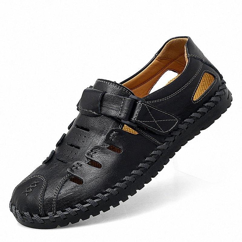 Sandalias para hombre de verano Calidad de cuero genuino transpirable masculino al aire libre zapatillas de playa suave cómodo para hombre sandalias de playa A4ae #