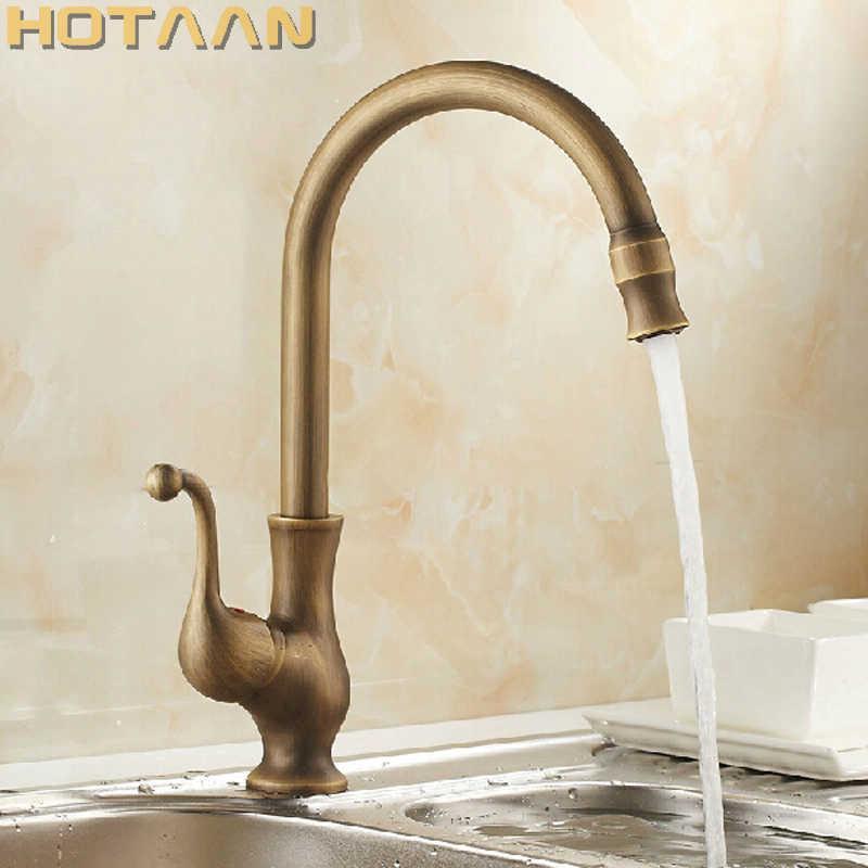 Torneira de cozinha antique latão giratória banheiro lavatório mixer guindaste de torneira, Torneira yt-6034 210724
