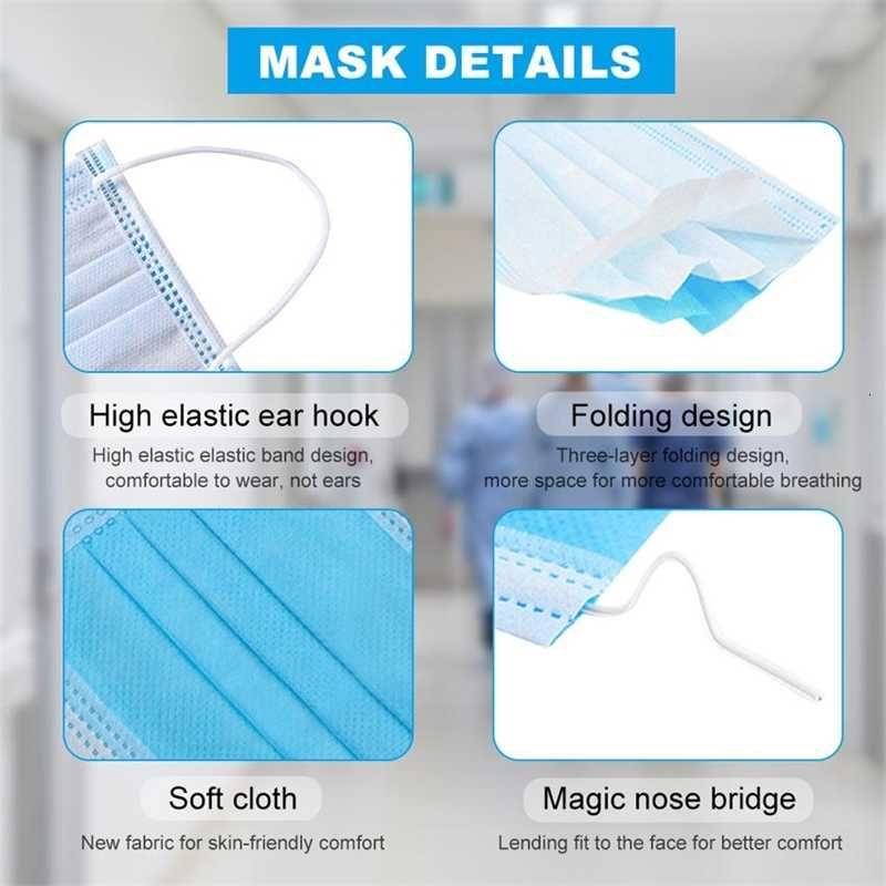 Ohiqdays descartáveis Ohiqfree para os EUA Face 3-7 Máscaras com orelha elástica Loop 3 Ply Respirável para bloquear o ar de poeira Anti-Pollu