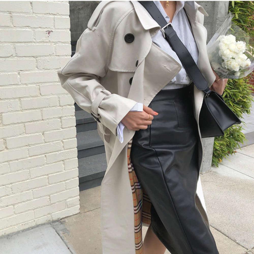 Moda stile coreano Trench di grandi dimensioni Trench da donna a doppio petto con cintura ufficio signora lunga a vento a vento primavera autunno