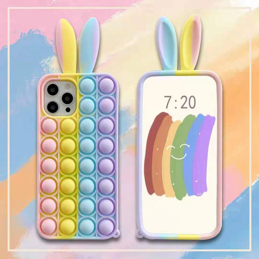 다채로운 토끼 귀 팝 fidget 푸시 거품 장난감 호의 휴대 전화 쉘 애플에 적용 * 스트레스 릴리버 감각 실리콘 전화 케이스 LLA698