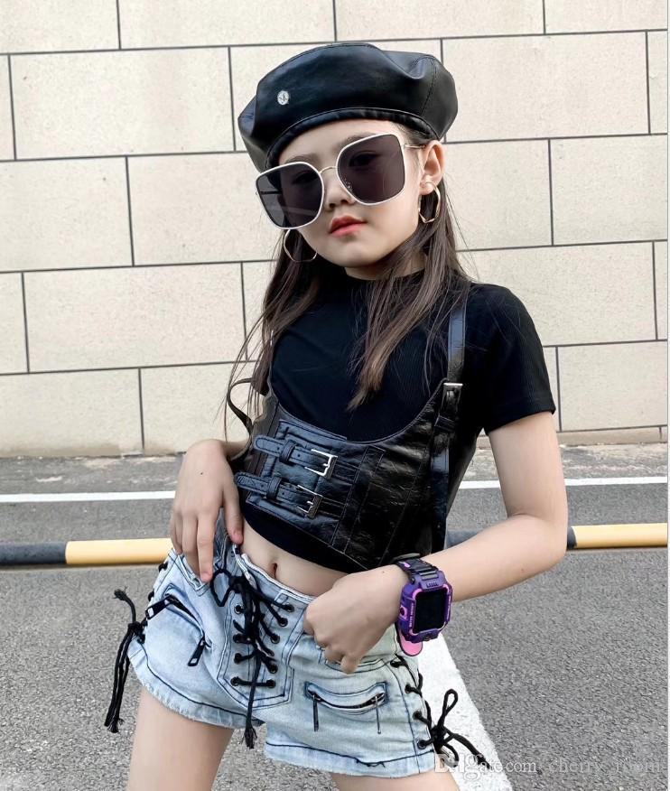 Girls fashion clothing sets 2021 kids cotton short sleeve T-shirt tops + waistband jacket vest 2pcs suits children Trendy outfits S1151