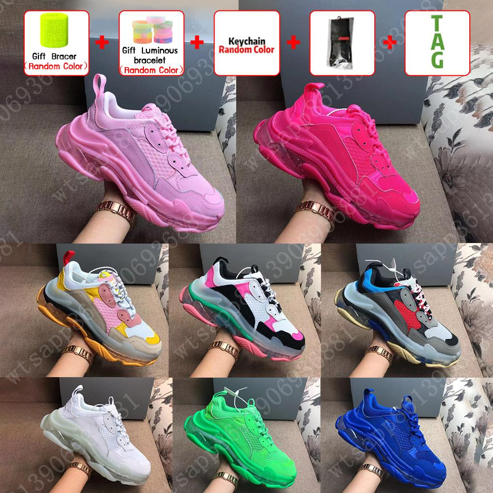 High quality Paris 17FW Sneakers Mens Women Casual Shoes Triple S Clear Sole White Green Black Red Rainbow Sports Outdoor Dad Shoe EUR 36-45