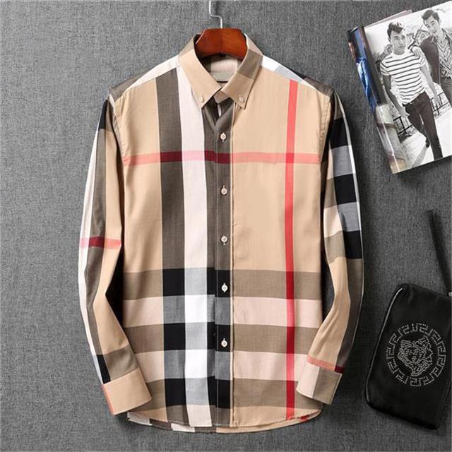 Mens de robe Menseur Casual Slim Fit Manches Longues Chemise d'affaires Male Dot Imprimer Automne Formel Coton Men Marque # 04