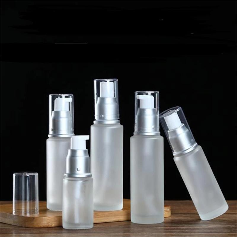 Garrafa de vidro fosco névoa névoa de pulverizador Bomba de loção de pulverizador Comestic Refilleable armazenamento garrafas de embalagem 20ml 30ml 40ml 50ml 60ml 80ml 100ml