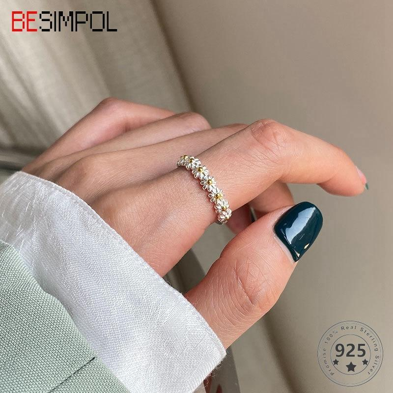 Cluster Rings Besimpol 925 Sterling Silver Sweet Daisy Ring Light Luxury Girl's Adjustable For Women Fashion Fine Jewelry Summer Gifts