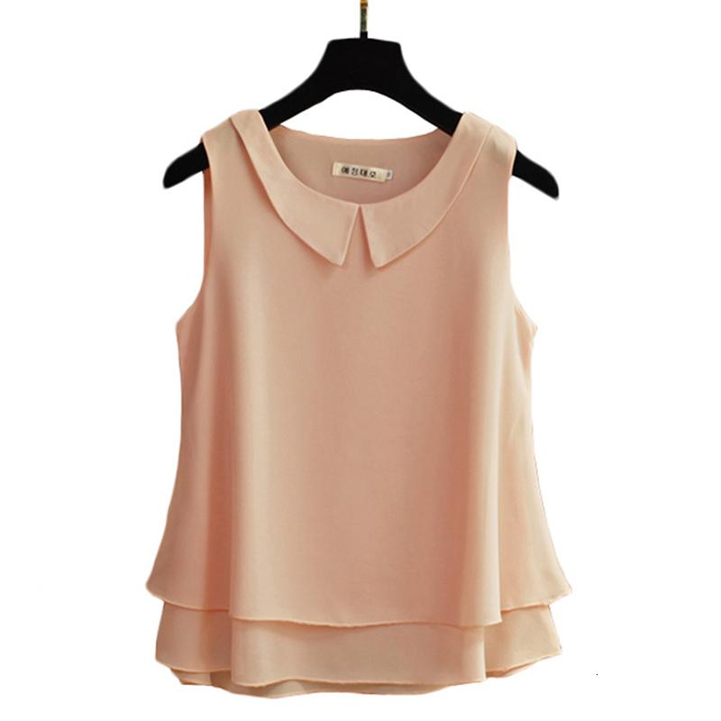 Camiseta Moda de Verão Mulheres Sem Mangas Peter Pan Colar Chiffon Camisas All-Matched Casual Blusa Loose Femme Tops Plus Size S759 K4ov