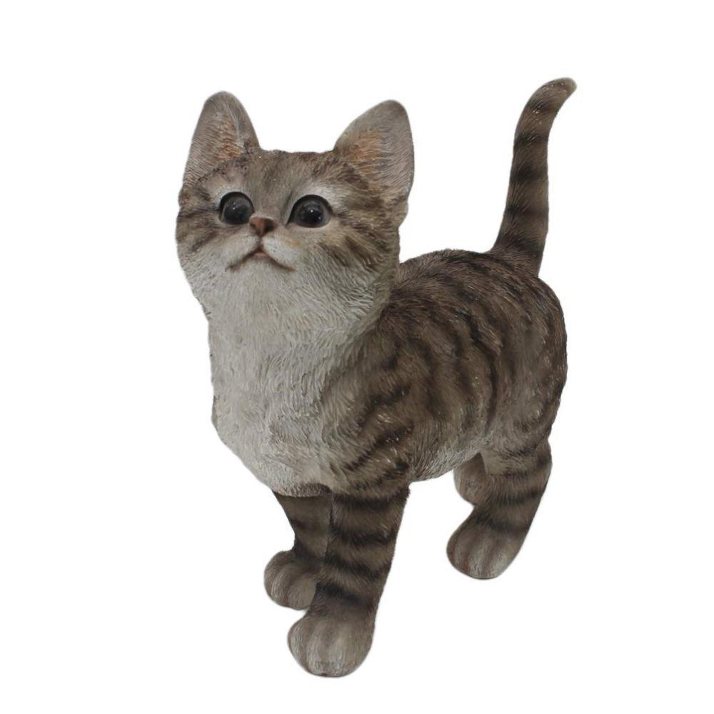 Innodept12 Cat Statue de jardin en gris meilleur décor d'art pour intérieur ou extérieur 210318