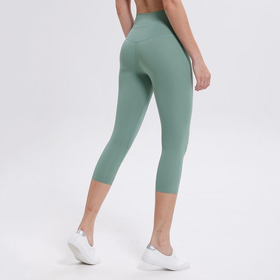 2021 Lado doble pulido Sense desnudo Yoga Capris Corriendo rápido Seco Elástico Medias Fitness Yoga Pantalones