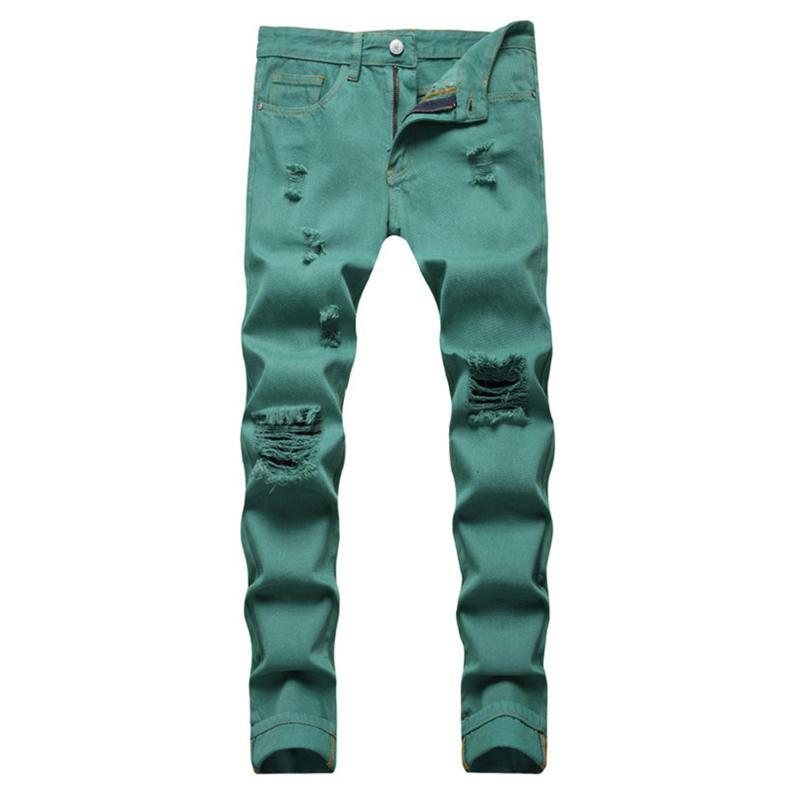 Männer Jeans Fancy Neon Color Y2K Denim Streetwear Slim Gerade Hosen Löcher Rissen Hosen Grün Gelb Rosa