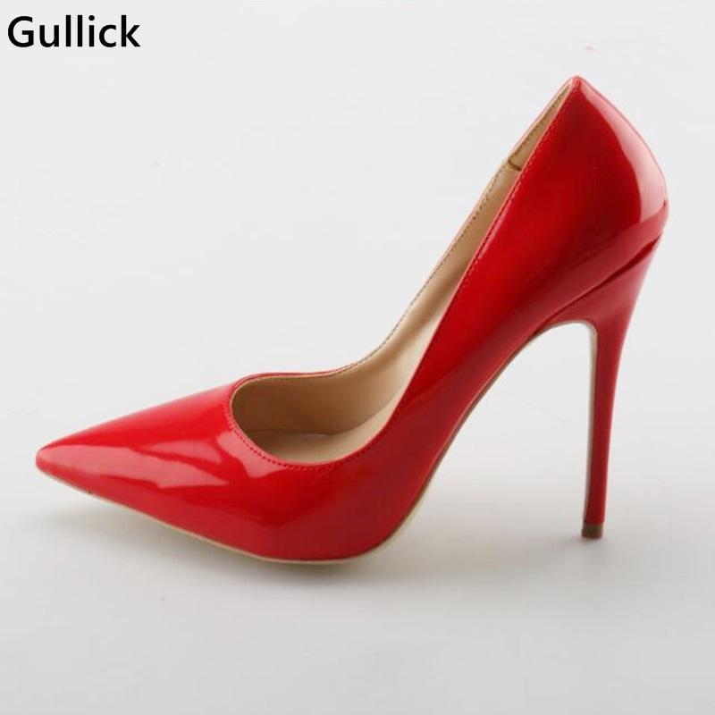 Gullick 레드 섹시한 가죽 얕은 여성 패션 펌프 얇고 하이힐 파티에 대 한 발가락 신발 큰 크기 드레스