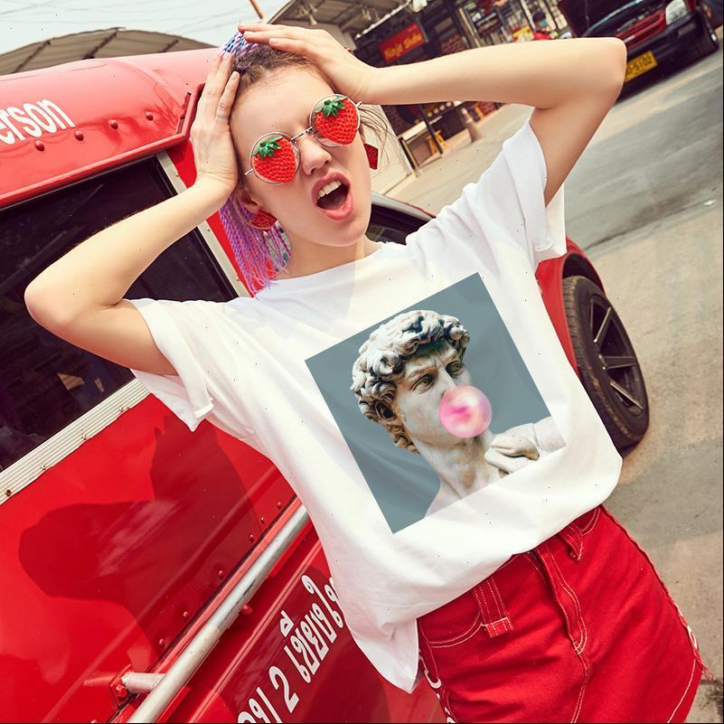 Frauen Womens Tops T-shirt Mode Lässig Druck T-shirt Kurzarm O Neck Weiß Harajuku Weibliche T-Shirts Dünne Kleidung
