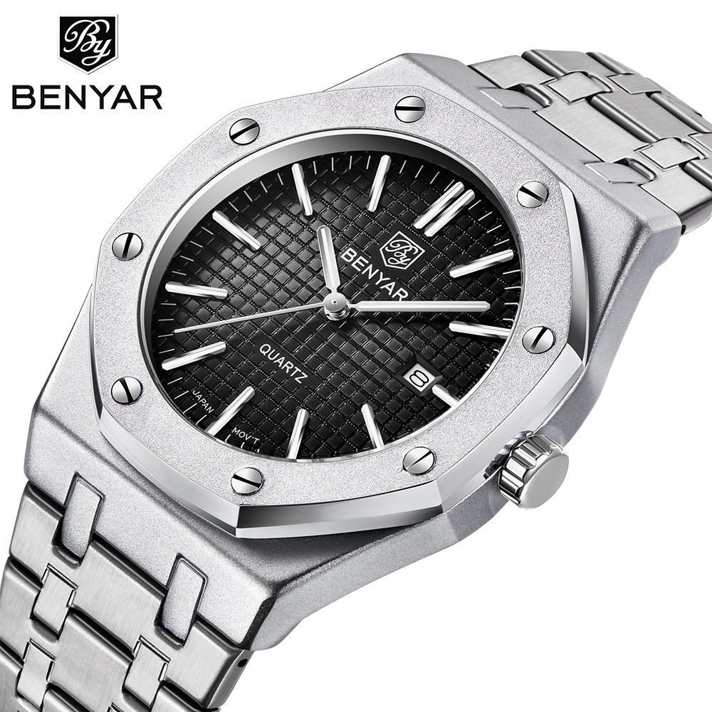 Benyar 5156 강철 시계 남성용 미니멀리스트 시계 30m 방수 스포츠 석영 아날로그 디스플레이 날짜 스테인리스 밴드가있는 남성 시계