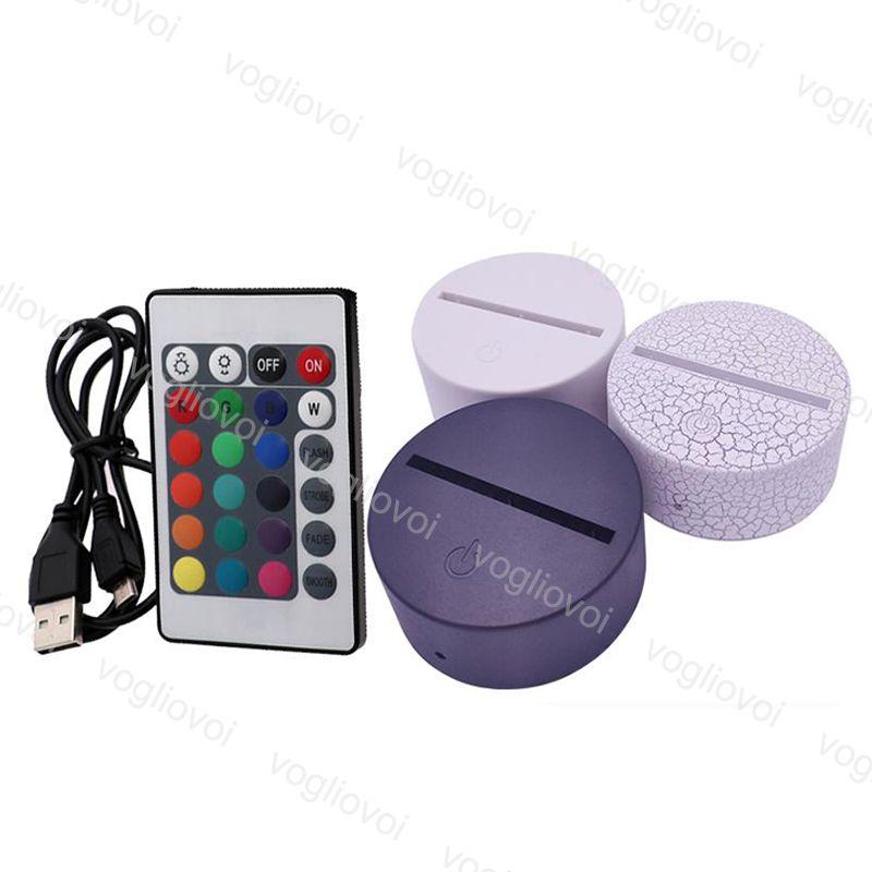 야간 조명 RGB 터치 스위치 램프베이스 3D 환상 4mm 아크릴 라이트 패널 2A 배터리 또는 DC5V USB DHL