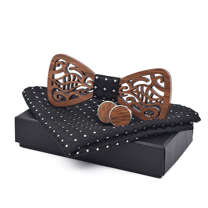 Linbaiway Handmade Handkerchief Wood Cufflinks Wooden Bow Tie Set For Wedding Party Butterfly Gravatas Goom Bowties Gift Neck Ties