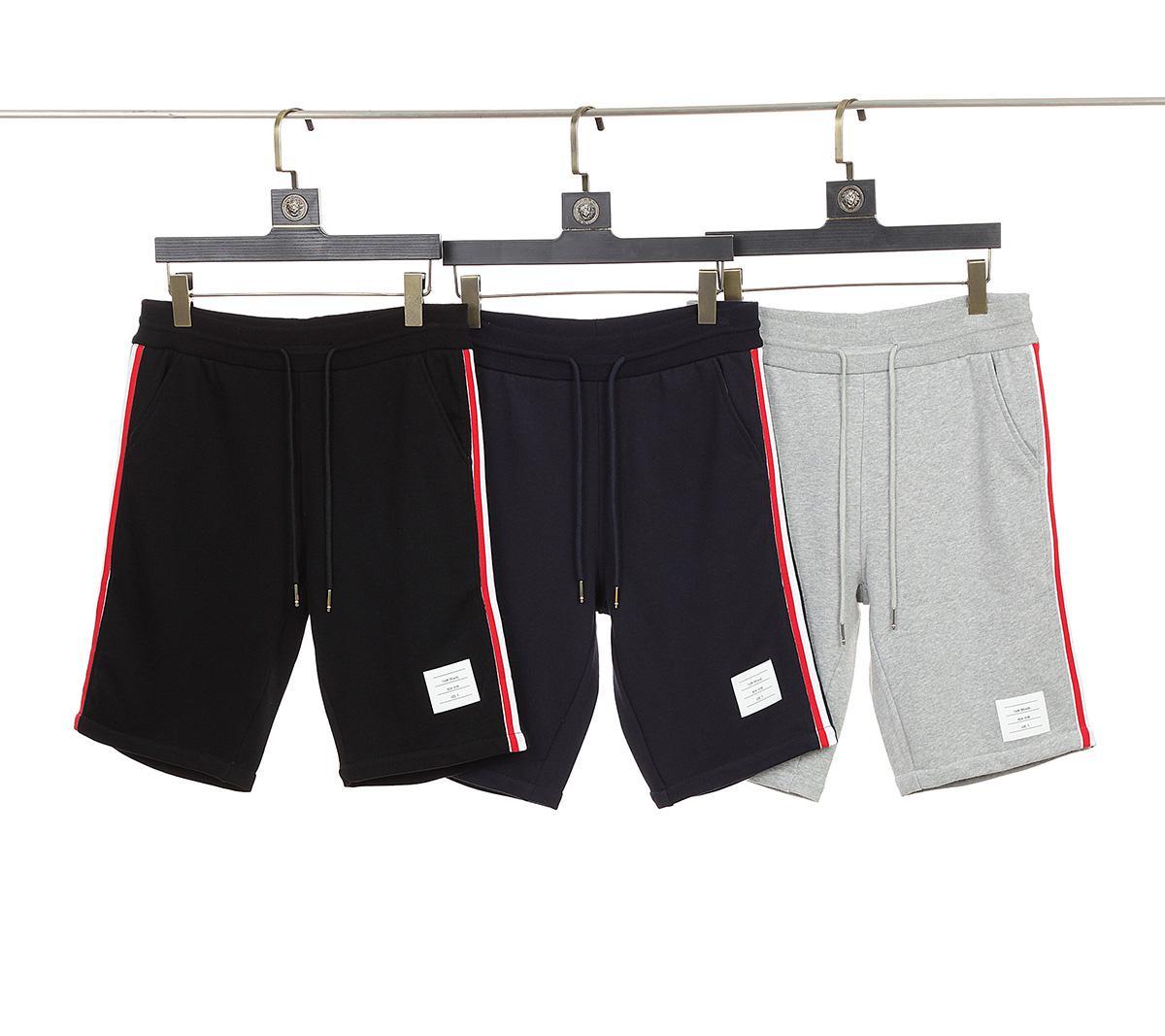 2021 Sommer Herren- und Damen-Shorts Neue Mode-Garn-gefärbte Wabe Vier Bars Gerade Sporthosen
