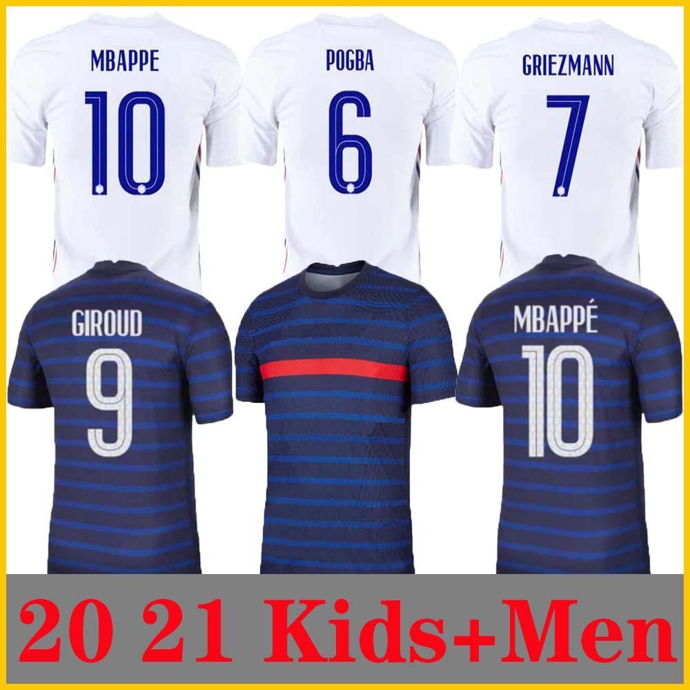 Homem + Crianças 2021 Griezmann Mbappe Jersey Kante 20 21 Centenário Pogba Camiseta Maillot de Futebol 2020 França Zidane Giroud Matuidi Kimpembe Ndombele Thauvin 100th