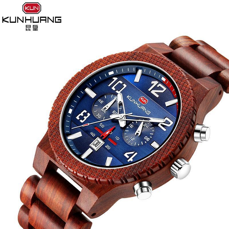 Armbanduhren Kunhuang Holz Quarz Armbanduhr Herren Sportuhr Business Holz Männliche Uhren Mann Armband Armreif Ehemänner Chronograph