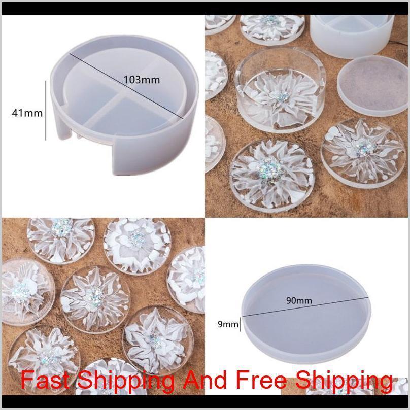 DIY resina epóxi silicone moldes resistentes a calor Circular branco porta copos de cristal de gota de gota de cola redonda molde transparente 9 5RH M2 HS NCX6B