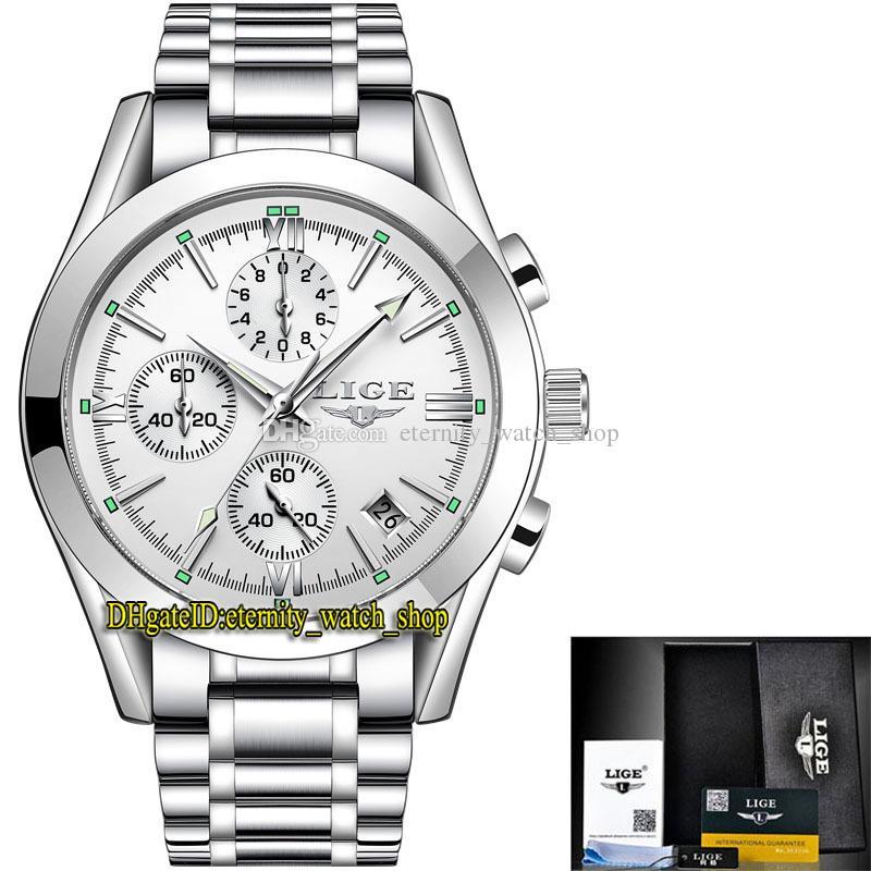 Lige Eternity LG9839 спортивные мужские часы дата белый циферблат серебряный указатель Японии VK кварцевый хронограф движения мужчин часы сплав серебристый браслет