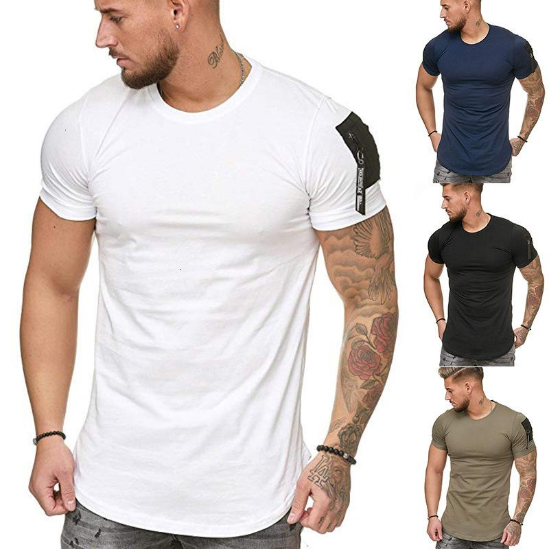 Frühling / Sommer 2021 Neue Schulterarmtasche Spleißen European Slim Fit Herren Sport Freizeit Kurzarm T-Shirt T109