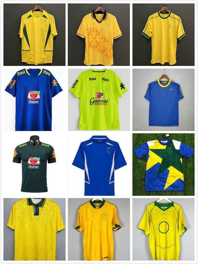 1991 1993 1957 1970 1994 Brasilien Fussball Jerseys Rivaldo 1988 1998 2000 2002 2004 2006 2010 Vintage Klassische Retro Romario Ronaldo Ronaldinho Camisa de Futebol