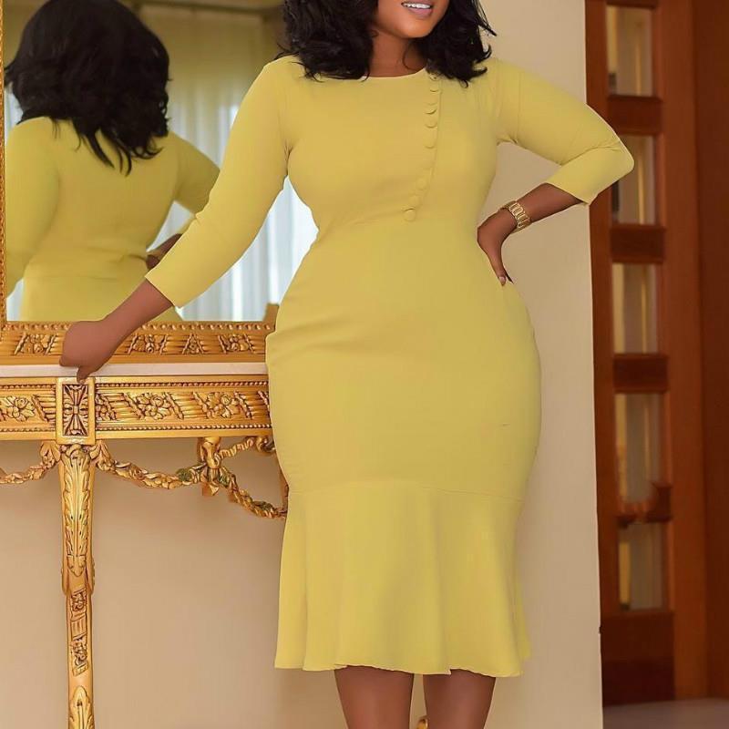 Féminin élégant femme robe robe bureau dames plus taille lanterne manches de la mode africaine mode massif modeste femme vestidos robes jaune orange